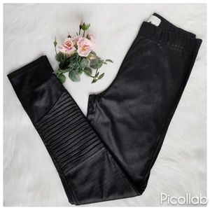 Mud Pie Black Motto Faux Leather Leggings